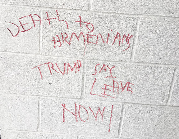 Graffiti on the wall of the Armenian American Council on Aging building